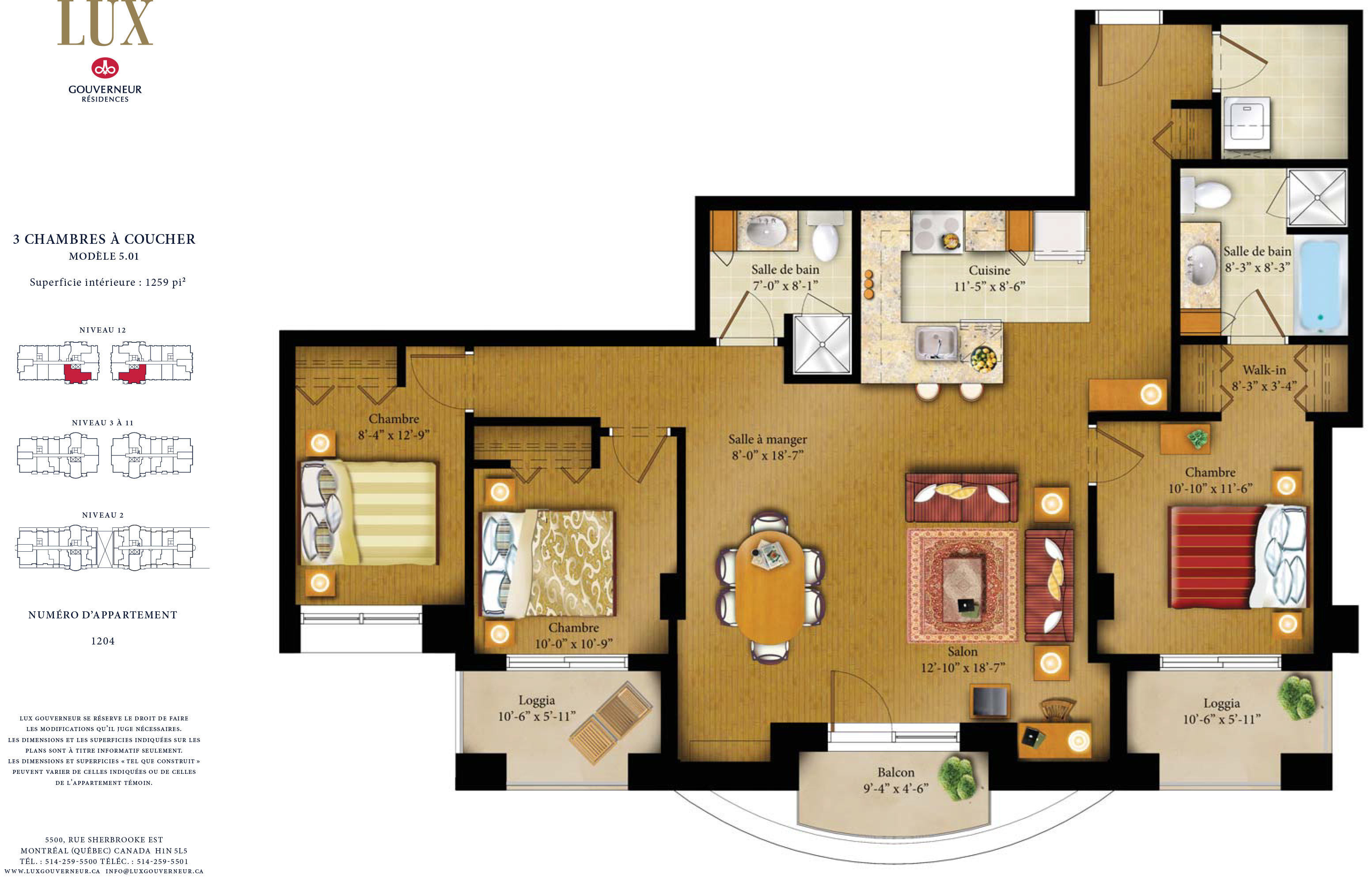 plan d'appartement 3 chambres